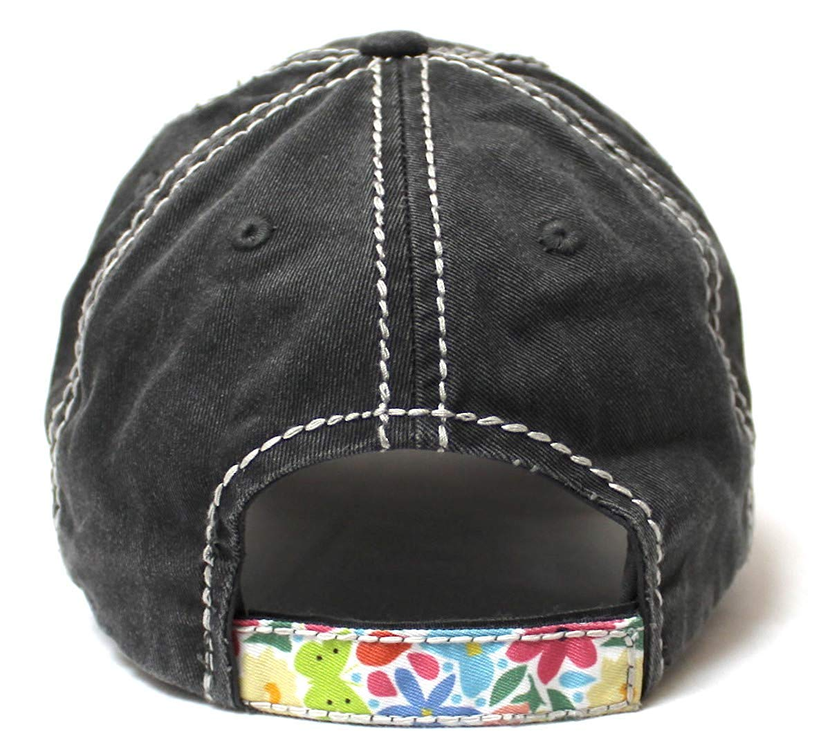 Cactus Floral Patchwork Embroidery Baseball Cap w/Monogram Bloom Detail, Charcoal - Caps 'N Vintage