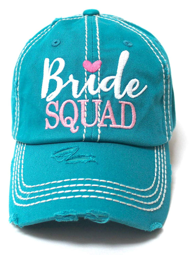 Bridal Accessory Gift, Bride Squad Monogram One-Size Ballcap, Turquoise - Caps 'N Vintage