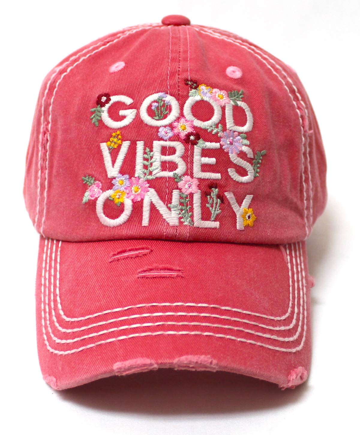 Women's Summer Ballcap Good Vibes Only Floral Monogram Embroidery Beach Hat, Rose Pink - Caps 'N Vintage