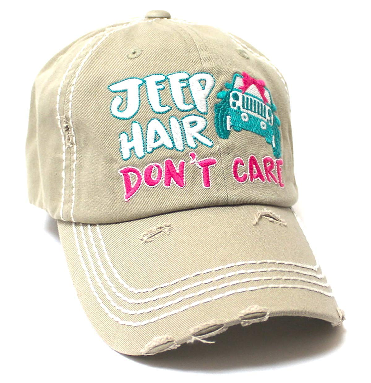 Ladies Bow-Tie Jeep Hair Don't Care Monogram Cheer Baseball Hat, Khaki - Caps 'N Vintage
