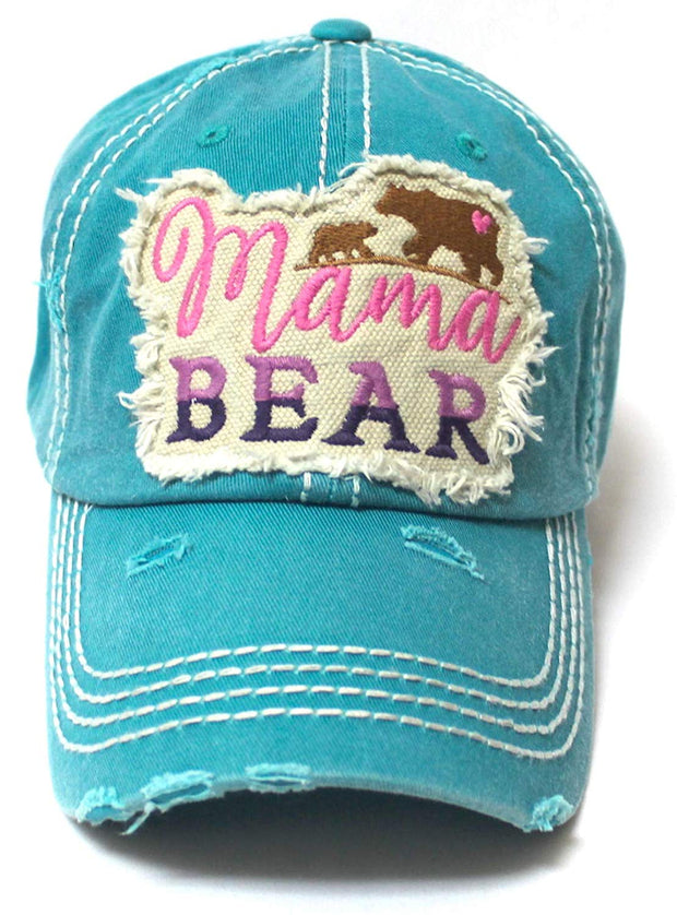 Women's Camping Cap Mama Bear & Cub Love Patch Embroidery Hat, Turquoise Jewel - Caps 'N Vintage