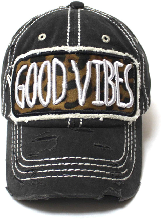 Leopard Print Good Vibes Monogram Patch Embroidery, Adjustable Baseball Hat, Vintage Black