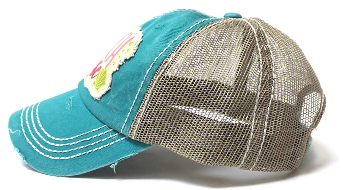 Women's Vintage Trucker Hat Beach Please Patch Embroidery Graphic, Turquoise - Caps 'N Vintage