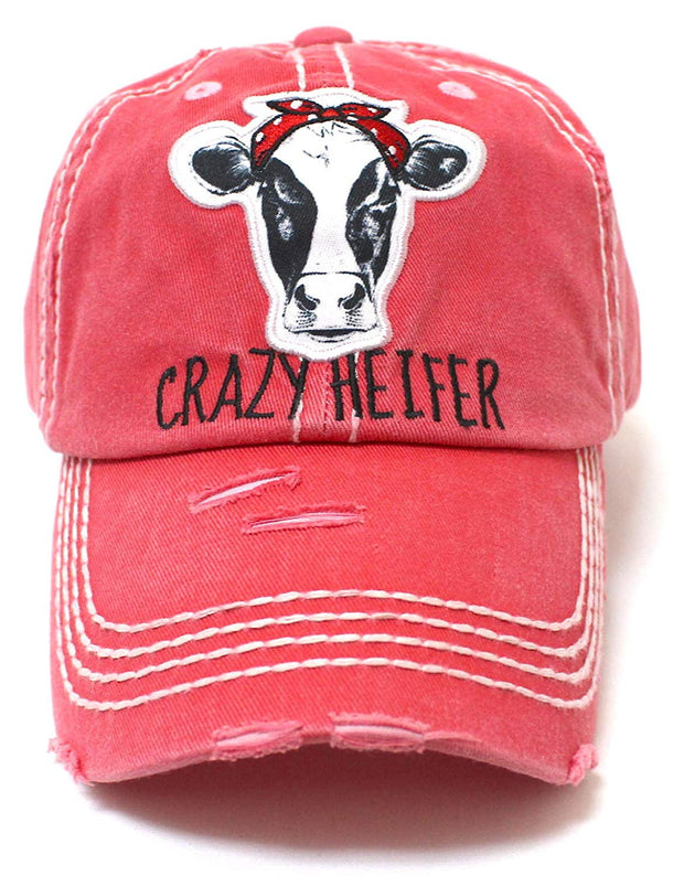 CAPS 'N VINTAGE Rose Pink Crazy Heifer Cow Patch Embroidery Hat - Caps 'N Vintage