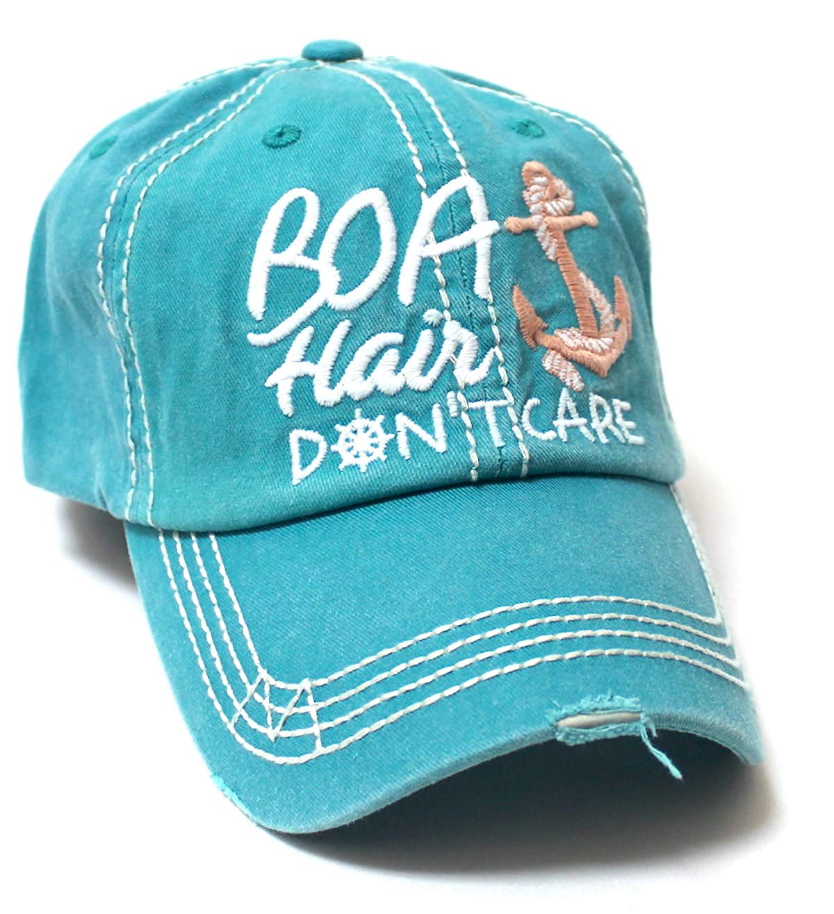 Beach Accessory Boat Hair Don't Care Monogram Baseball Hat, Turquoise - Caps 'N Vintage