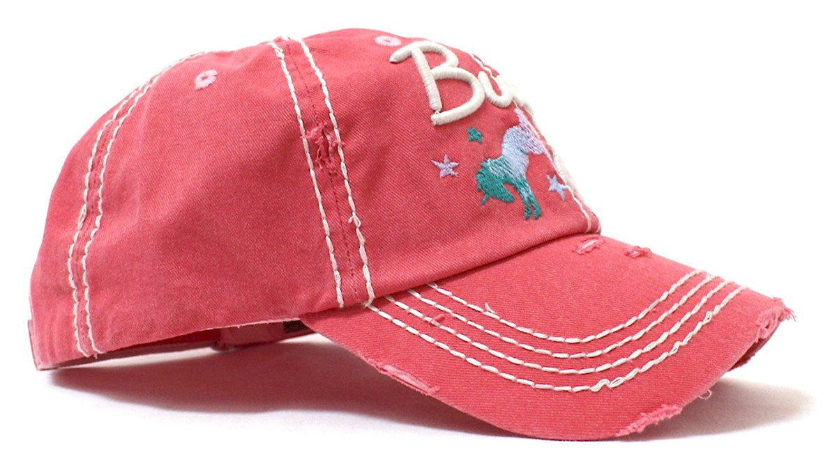 Rose Pink Buck Off Wild Horse Embroidery Baseball Cap - Caps 'N Vintage