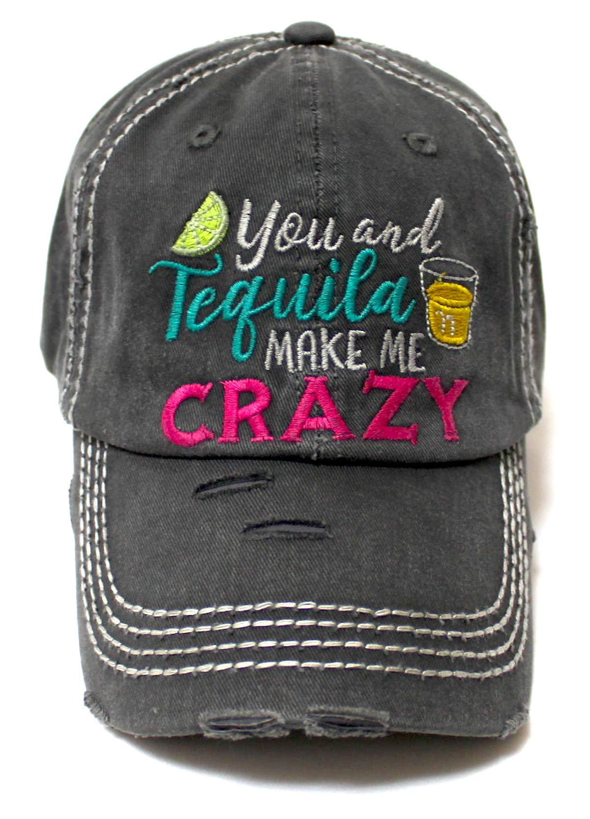 Women's Vintage Beach Cap You Make Me Crazy Lime & Margs Monogram Embroidery Baseball Hat, Black - Caps 'N Vintage