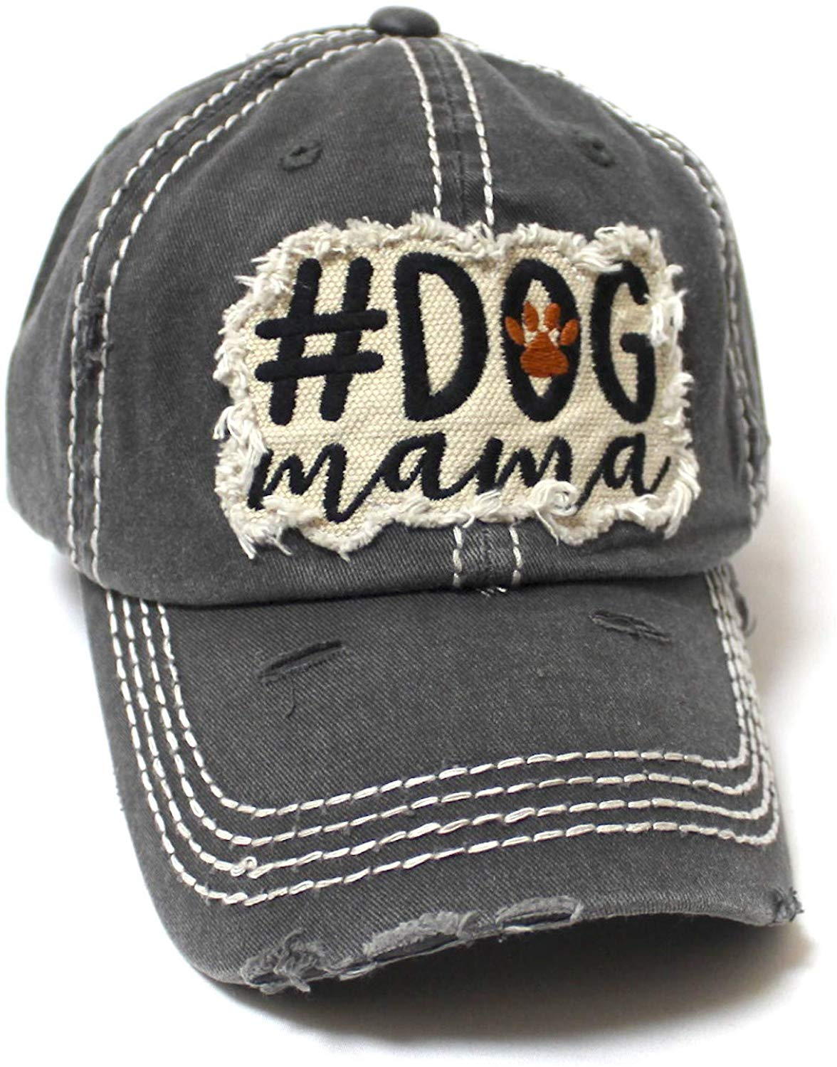 Women's Ballcap #Dog Mama Paw Print Patch Embroidery Unconstructed Hat, Vintage Black - Caps 'N Vintage