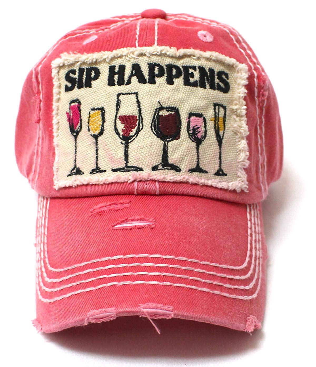 Rose Pink SIP Happens Patch Embroidery Cap w/Humor Wine Glasses - Caps 'N Vintage