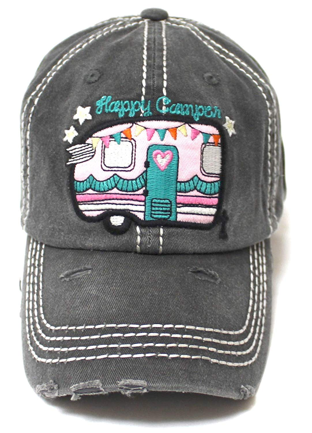 Women's Baseball Cap Cute Happy Camper Monogram Embroidery Design Hat, Grey - Caps 'N Vintage