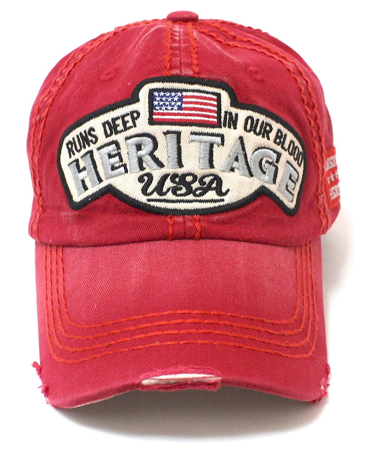 Red Heritage USA Distressed Baseball Cap - Caps 'N Vintage