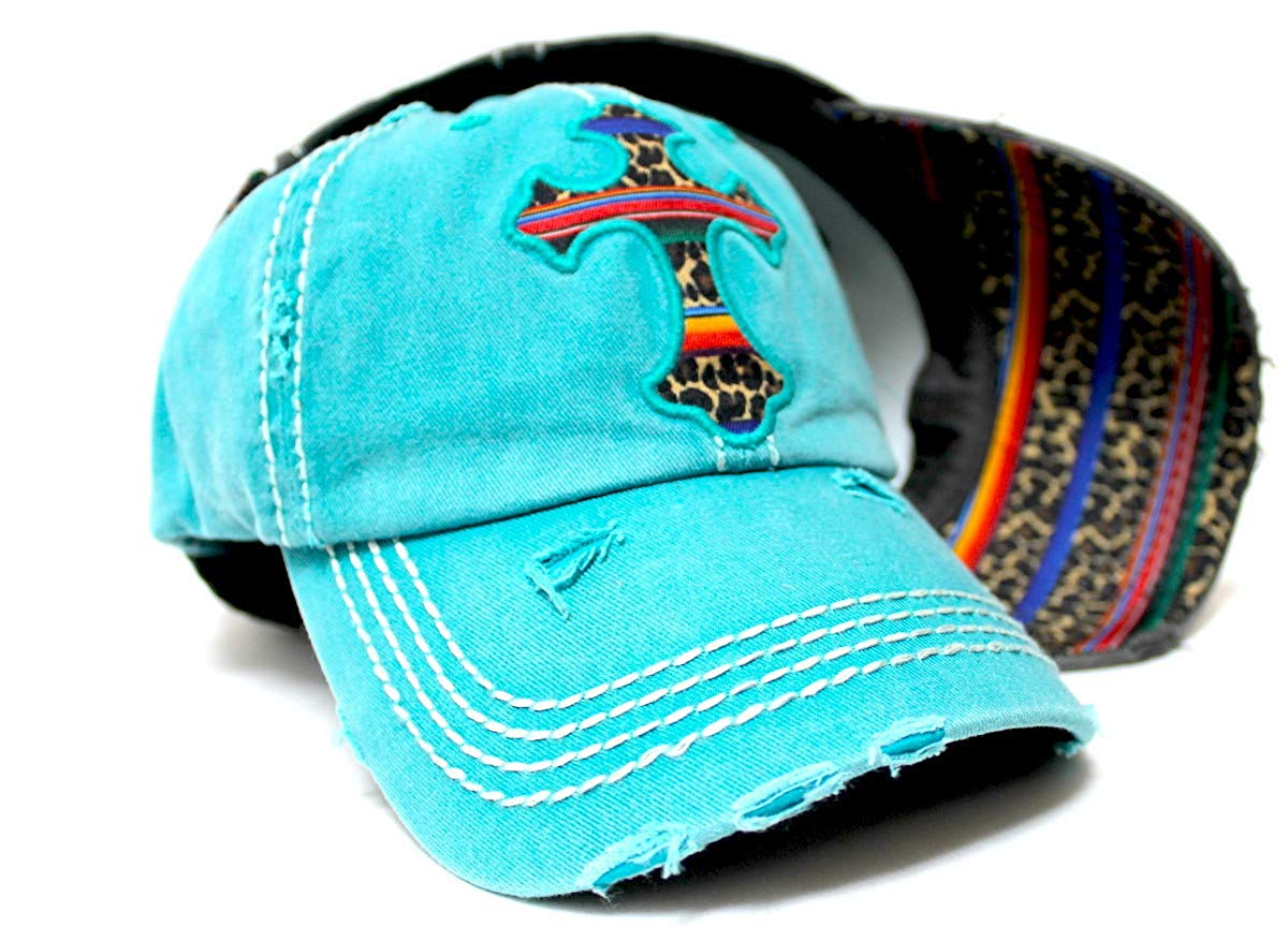 Classic Vintage Distressed Ballcap Christian Cross Monogram Embroidery, Serape & Leopard Patterned Adjustable Hat, Turquoise