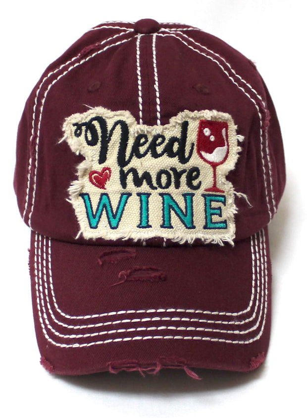 Women's Ballcap Need More Wine for The Love of Vino Patch Embroidery Hat, Burgundy
