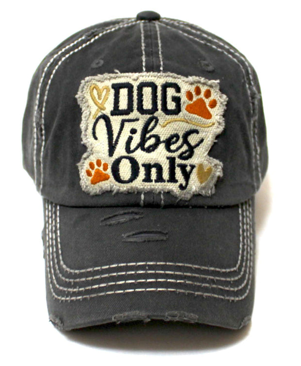 Classic Distressed Adjustable Baseball Cap Dog Vibes Only Hearts, Paws & Bone Monogram Hat, Vintage Black - Caps 'N Vintage