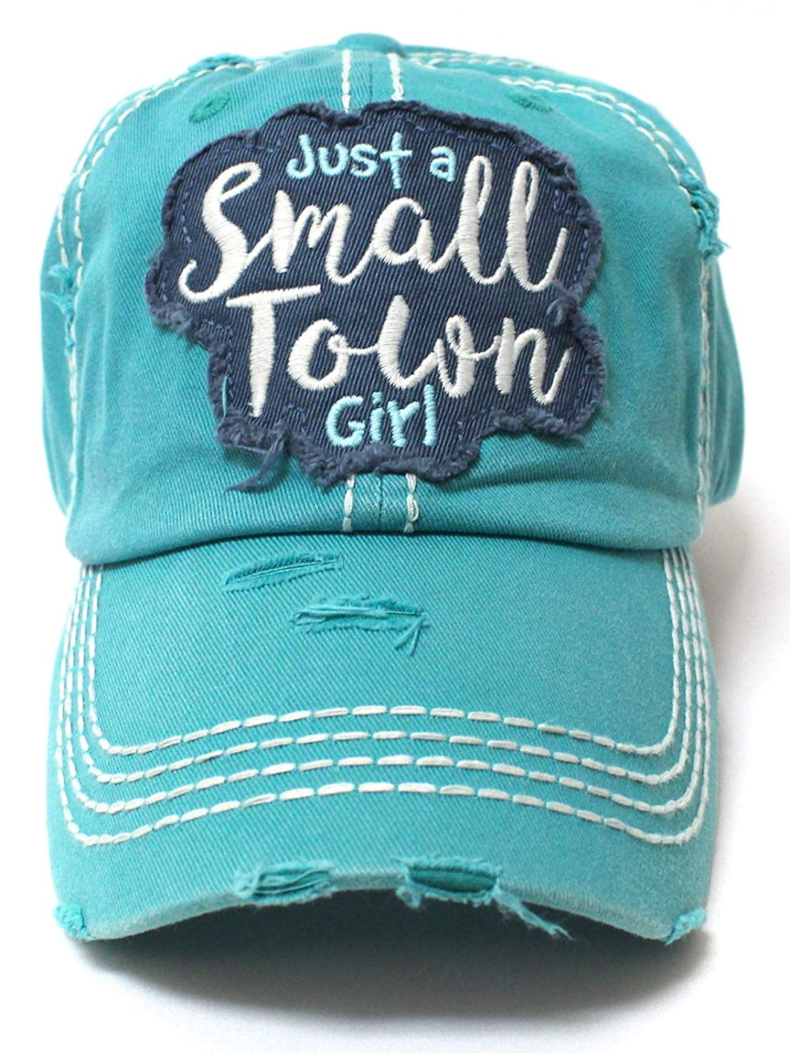 Jewel Turquoise Just a Small Town Girl Patch Embroidery Ballcap - Caps 'N Vintage