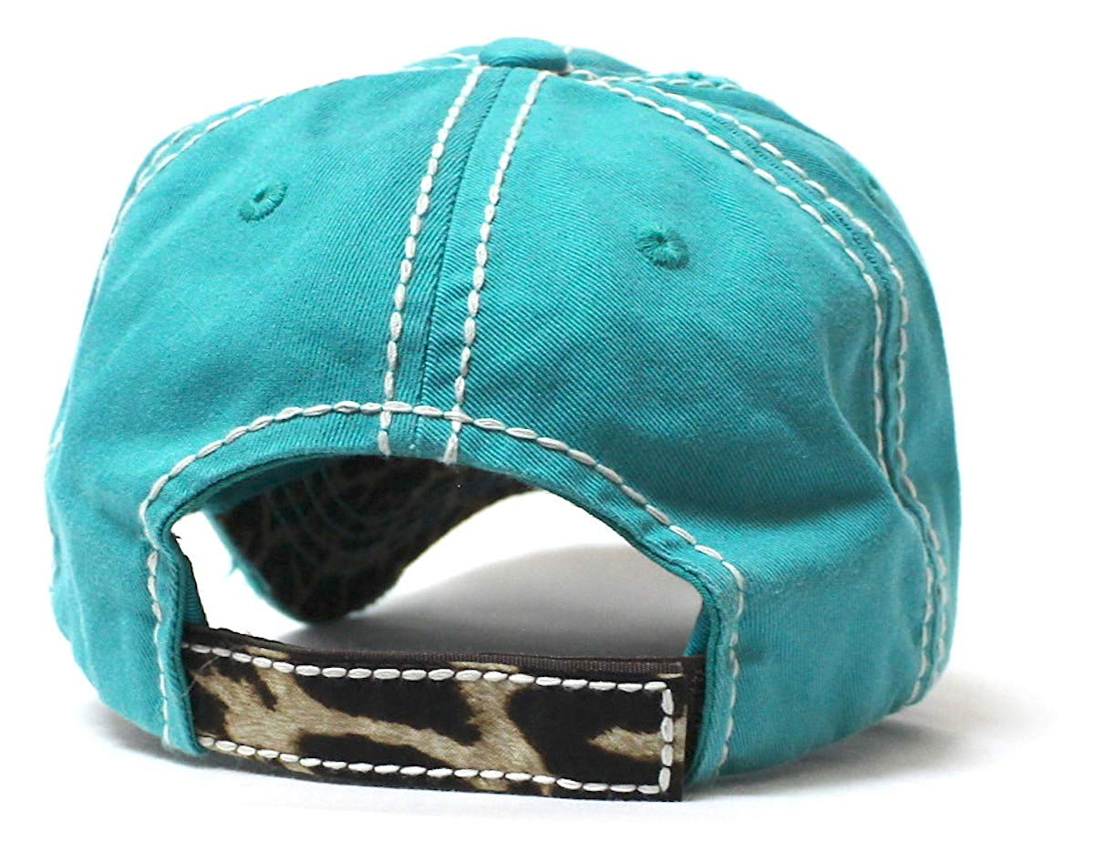 New! Turquoise Cactus & Leopard Happy Camper Baseball Hat - Caps 'N Vintage