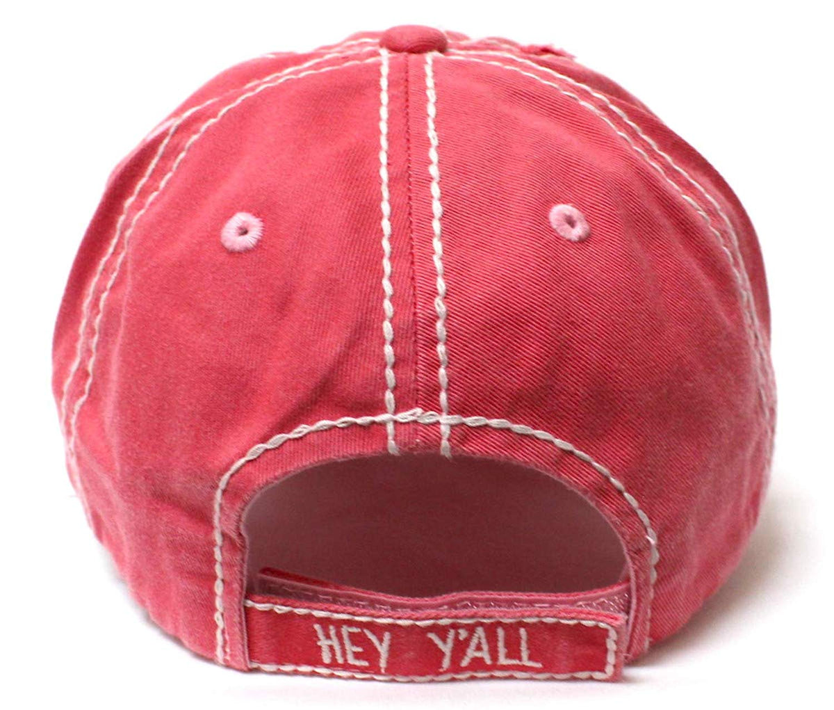 CAPS 'N VINTAGE New!! Royal Pink Hey Y'all Velvet Patch Emroidery Hat w/Heart Detail - Caps 'N Vintage