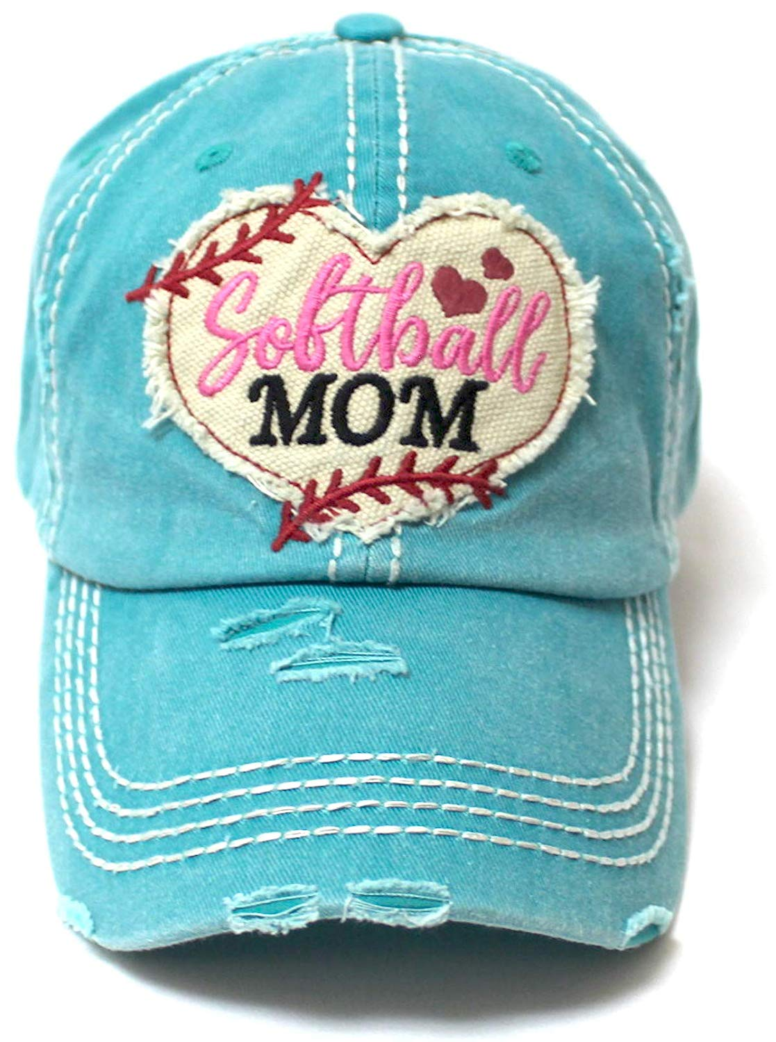 Women's Softball Mom Baseball Cap Heart Softball Patch Embroidery, Turquoise - Caps 'N Vintage