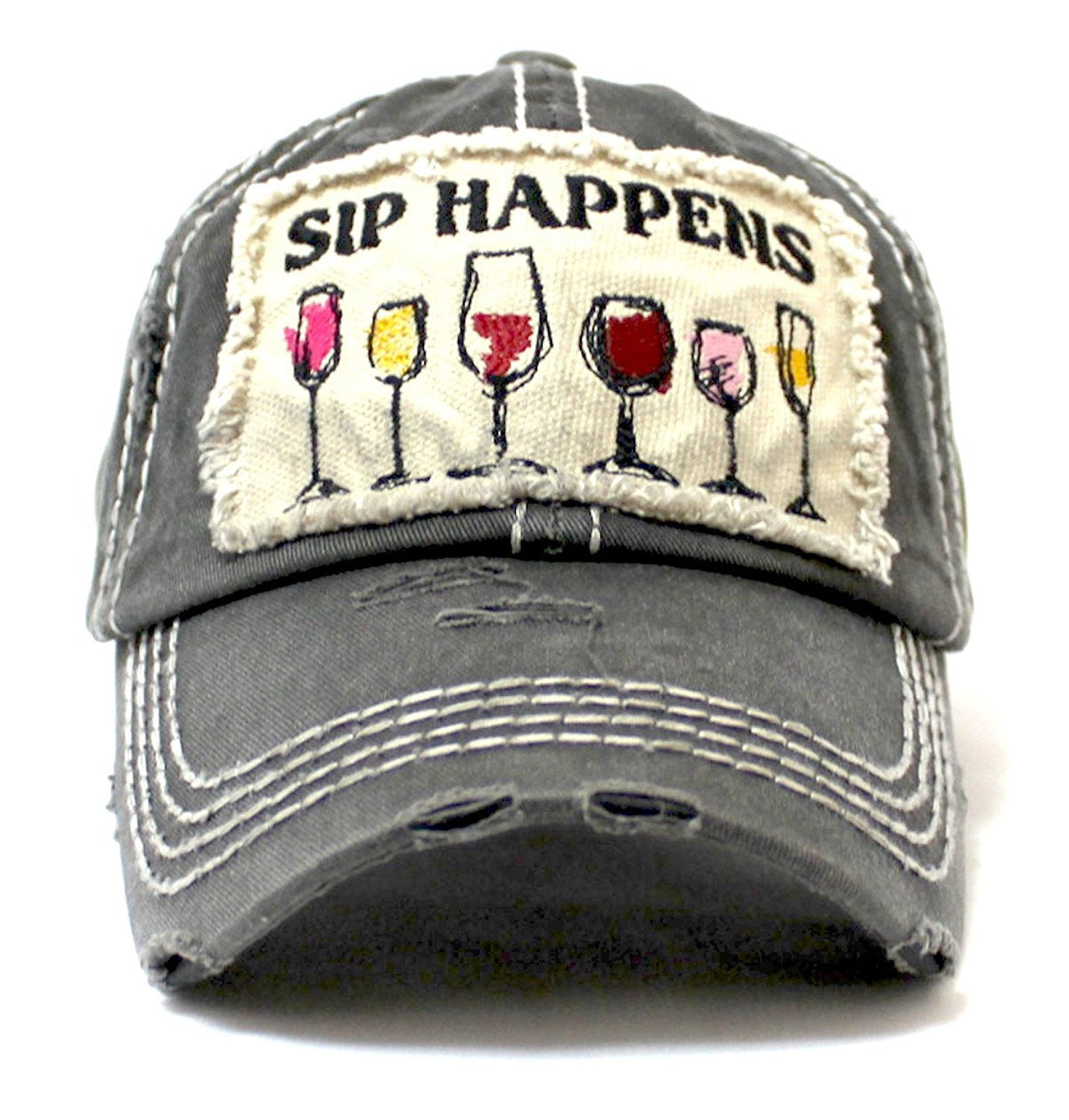 Charcoal SIP HAPPENS Wine Glass Patch Embroidery Hat - Caps 'N Vintage