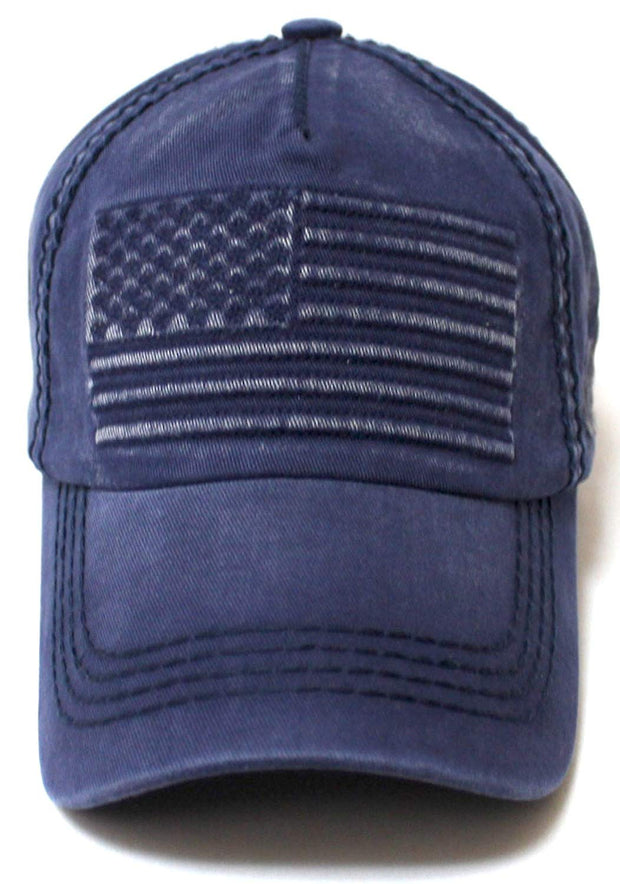 Classic Low Profile USA Flag Embroidery Ball Cap, Vintage Navy Blue - Caps 'N Vintage
