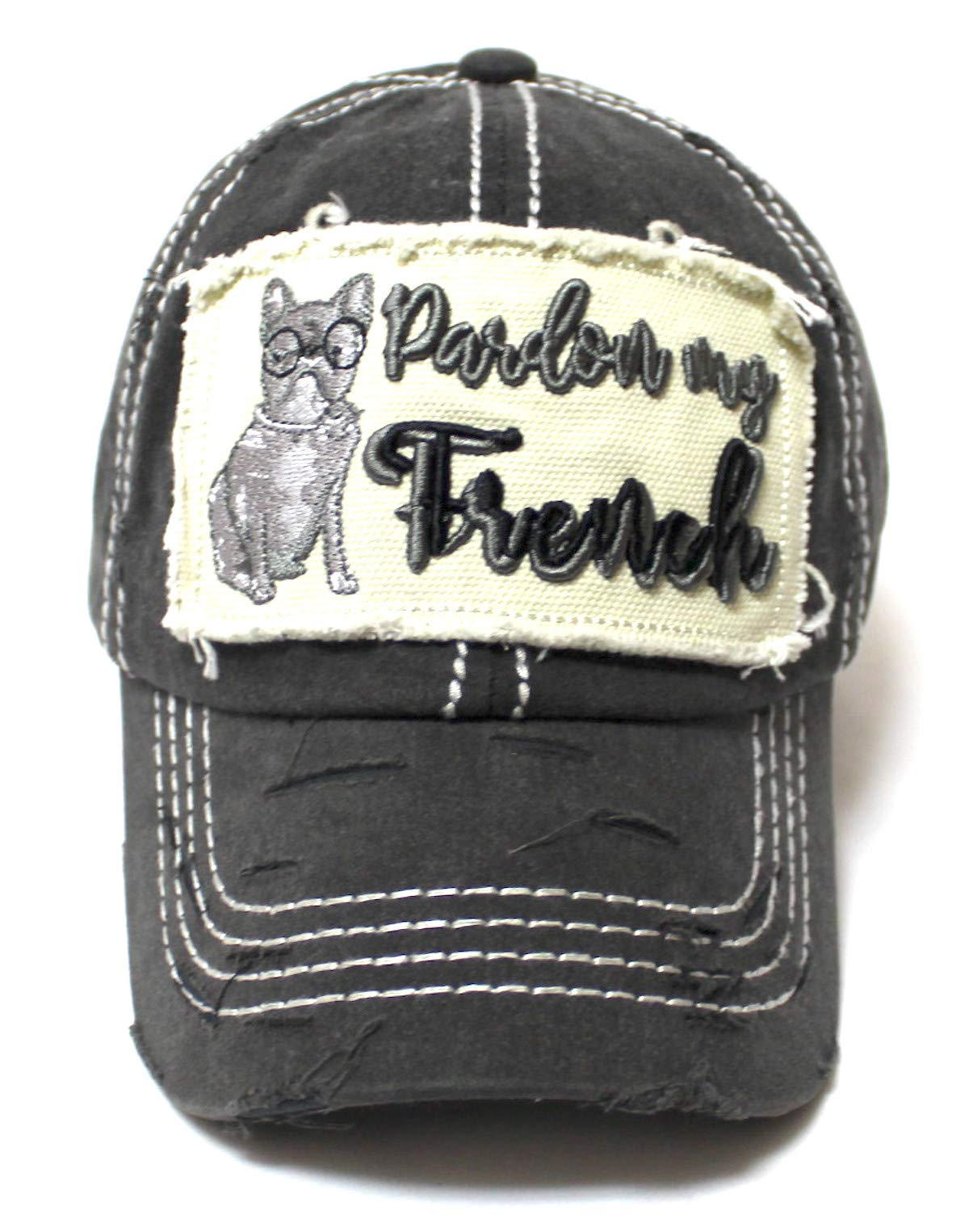 Women's Ballcap Pardon My French French Bulldog Patch Embroidery Monogram Hat, Vintage Black - Caps 'N Vintage