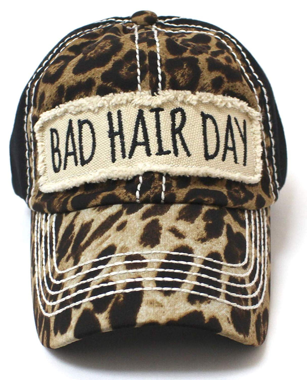 "NEW!! Leopard/Black""BAD HAIR DAY"" Patch Embroidery Hat - Caps 'N Vintage"