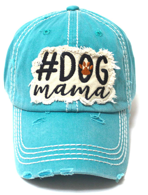 Women's Ballcap #Dog Mama Paw Print Patch Embroidery Unconstructed Hat, Turquoise - Caps 'N Vintage