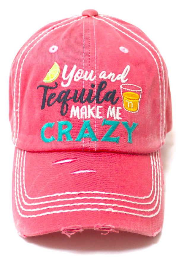 Women's Vintage Beach Cap You Make Me Crazy Lime & Margs Monogram Embroidery Baseball Hat, Coral Rose - Caps 'N Vintage