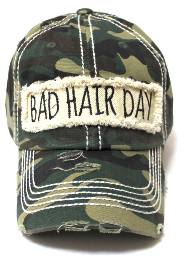 Women's Hat Bad Hair Day Embroidery Patch on Distressed Cap, Vintage Army Camo - Caps 'N Vintage
