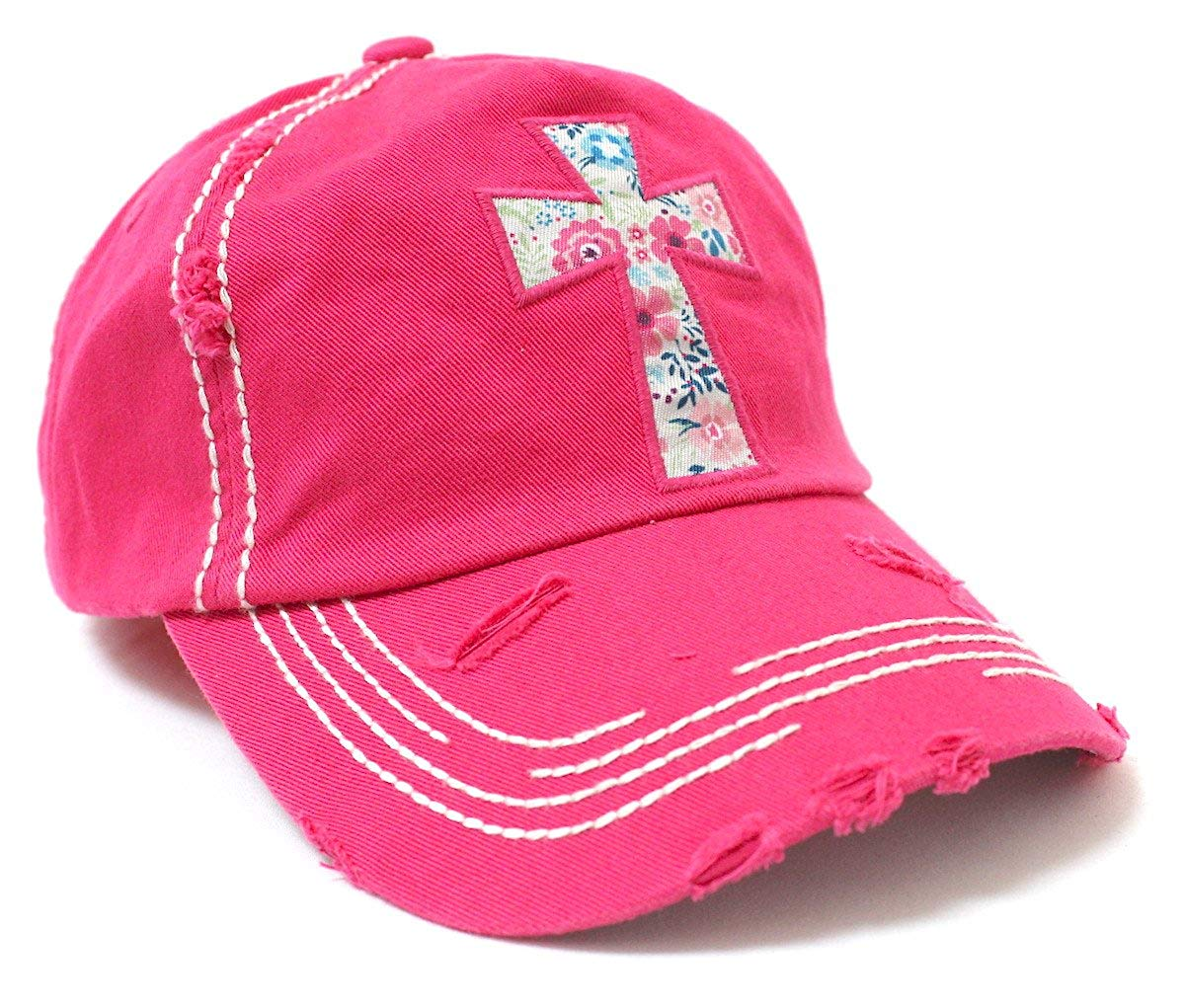 HOT Pink Floral Pattern Cross Cap - Caps 'N Vintage