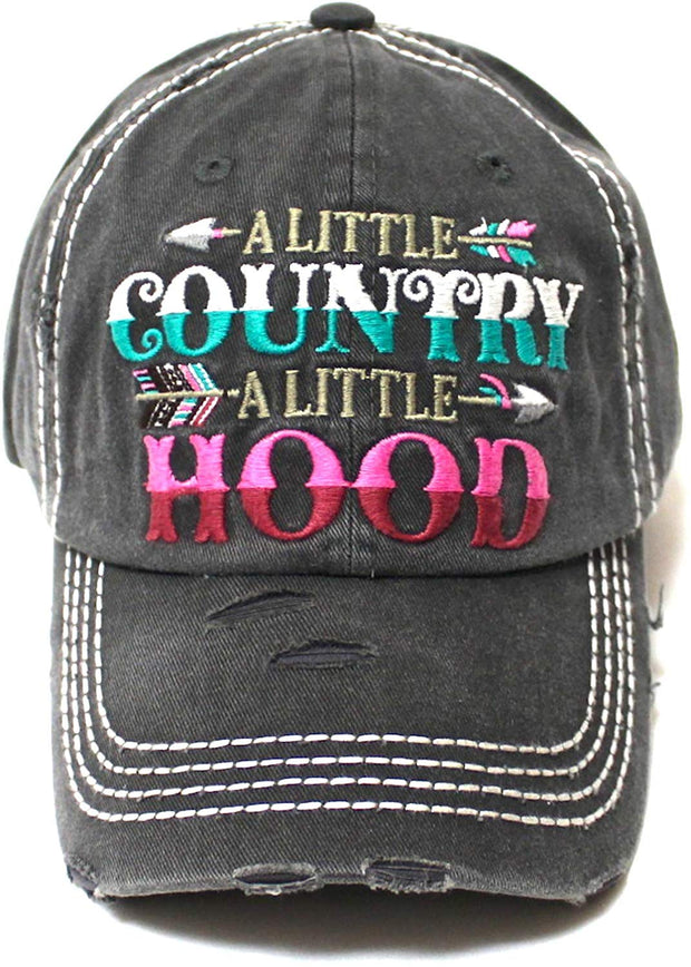 Tribal Western Ballcap Little Country Little Hood Monogram Embroidery Adjustable Baseball Hat, Vintage Black - Caps 'N Vintage