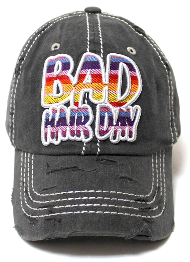 Women's Ballcap Bad Hair Day Serape Print Monogram Embroidery Unconstructed Hat, Vintage Black - Caps 'N Vintage