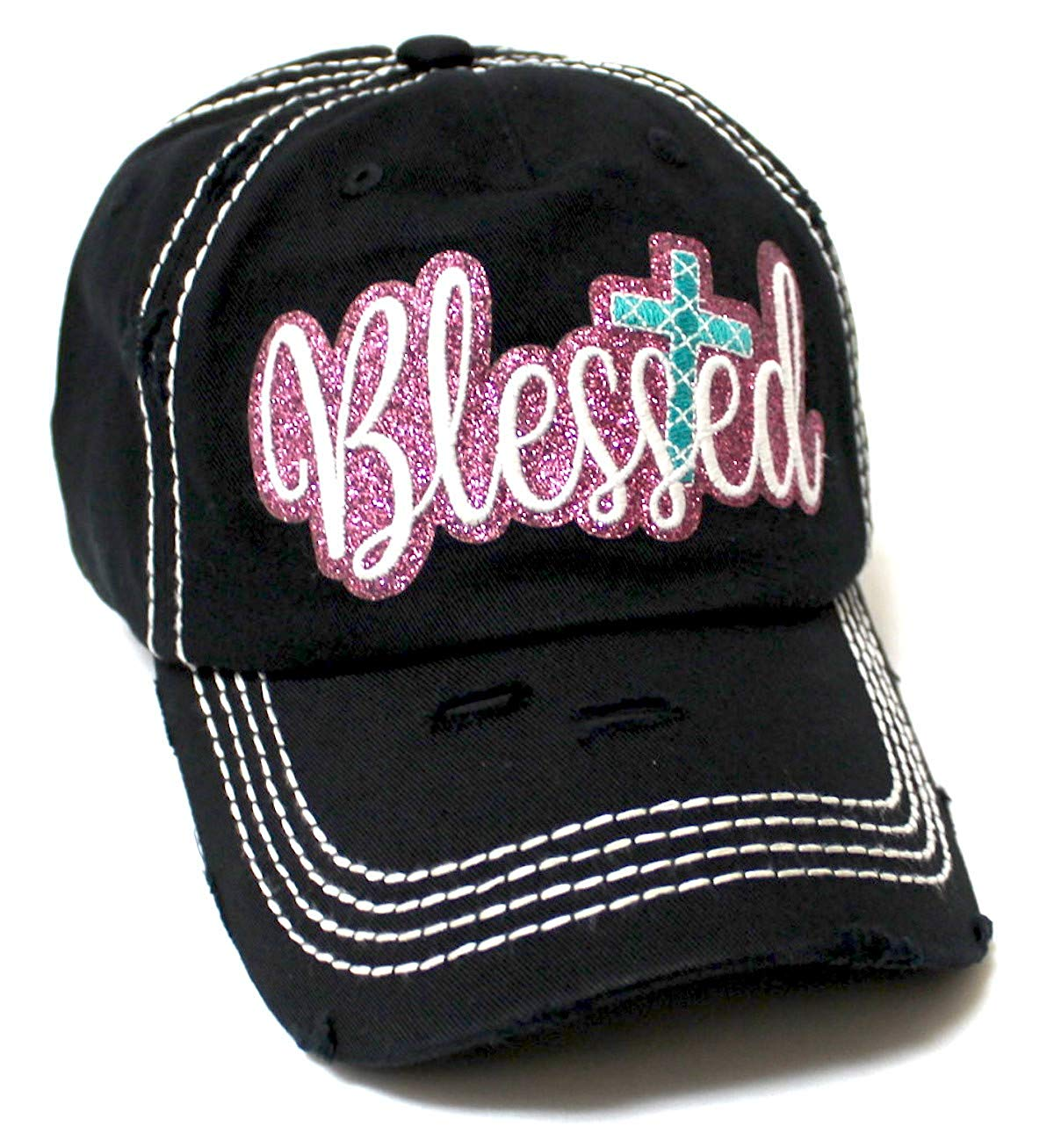 Women's Sparkle Blessed Glitter Ballcap Embellished Cross Monogram Embroidery, Black - Caps 'N Vintage