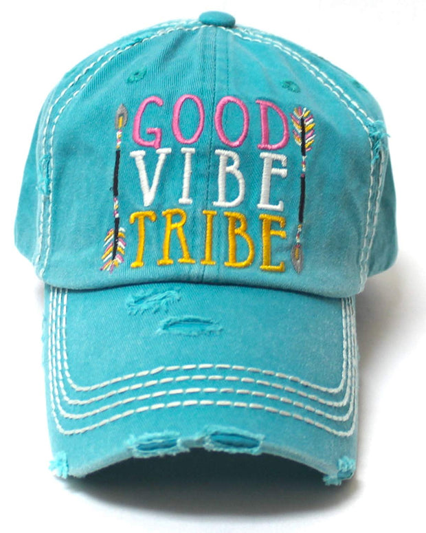 Women's Camping Cap Good Vibe Tribe Tribal Ethnic Arrow Monogram Embroidery Hat, Turquoise - Caps 'N Vintage