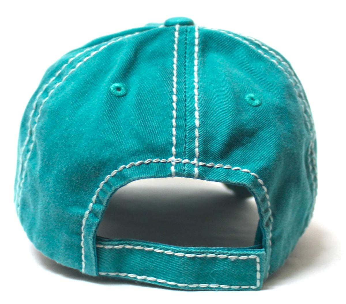 Women's Baseball Cap Camping Hair Don't Care Patch Embroidery Monogram Hat, Beach Turquoise