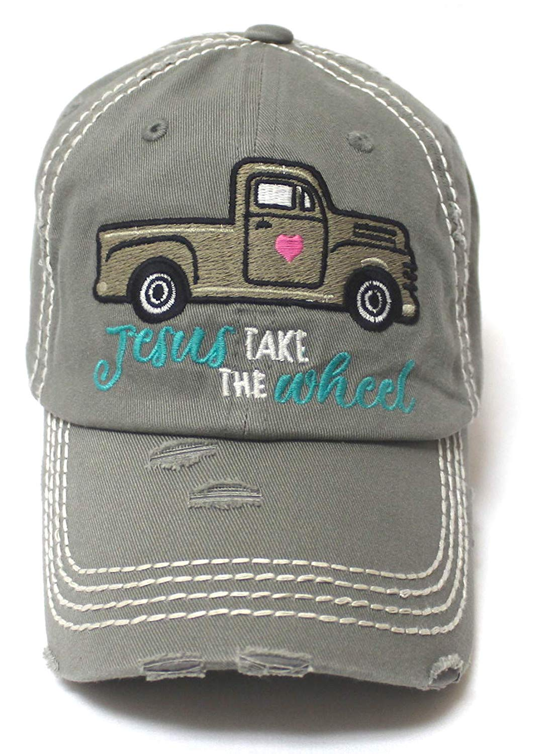 CAPS 'N VINTAGE Women's Camping Cap Jesus Take The Wheel Truck Heart Embroidery Hat, Slate Grey - Caps 'N Vintage
