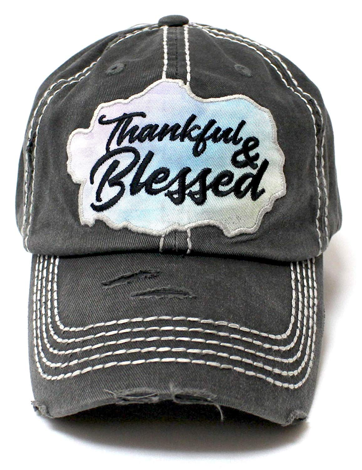 CAPS 'N VINTAGE Charcoal Blk Thankful & Blessed Chrome Patch Embroidery Hat - Caps 'N Vintage
