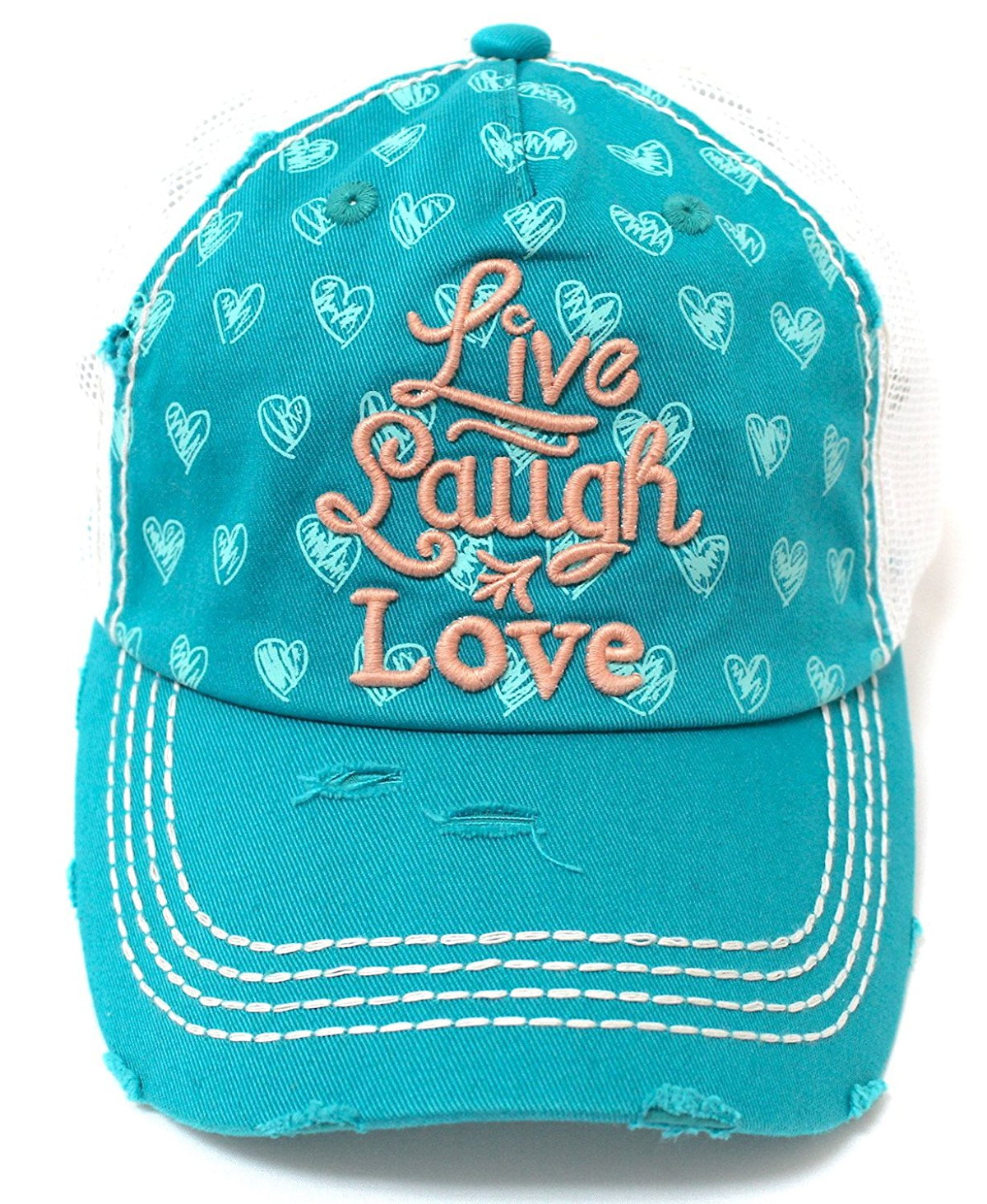 Women's Live, Laugh, Love hearts Pattern Meshback Hat-Turquoise - Caps 'N Vintage