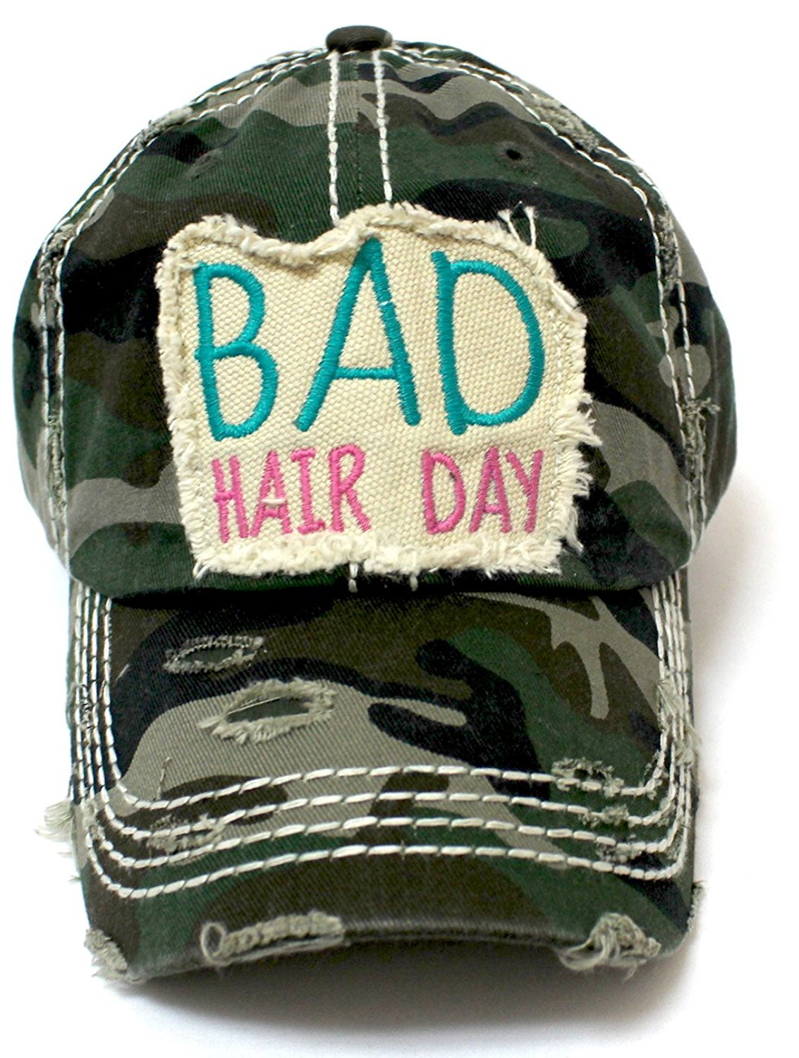 NEW!! Army Camouflage Bad Hair Day Vintage Patch Hat - Caps 'N Vintage