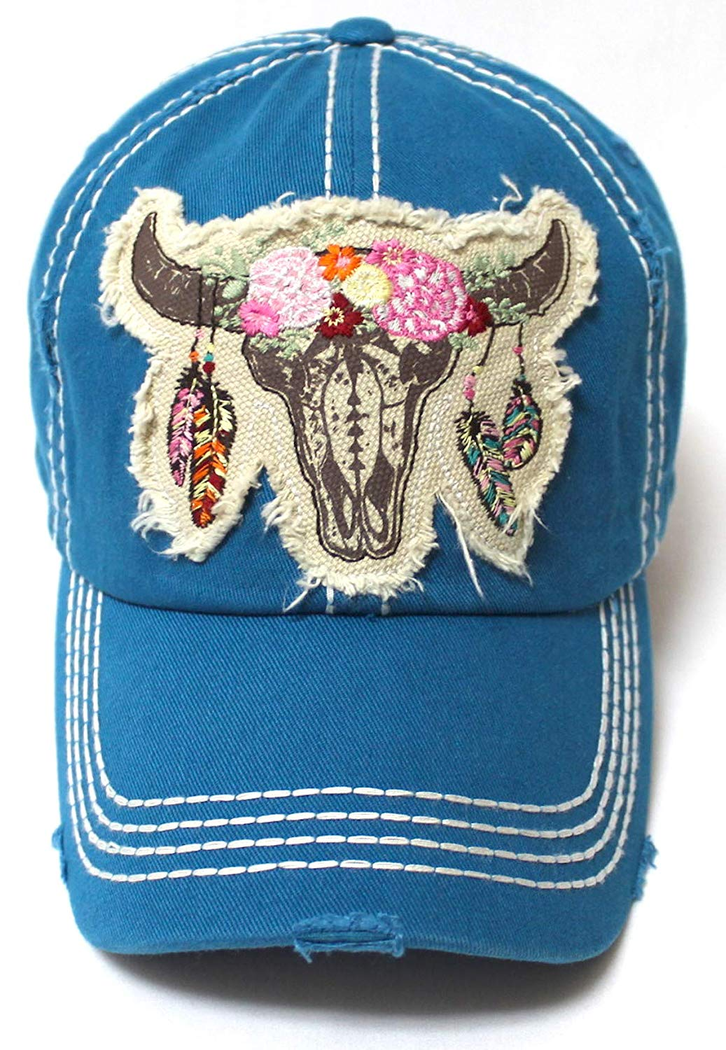 Women's Floral Cow Skull Patch Embroidery Vintage Baseball Hat, Teal Blue - Caps 'N Vintage