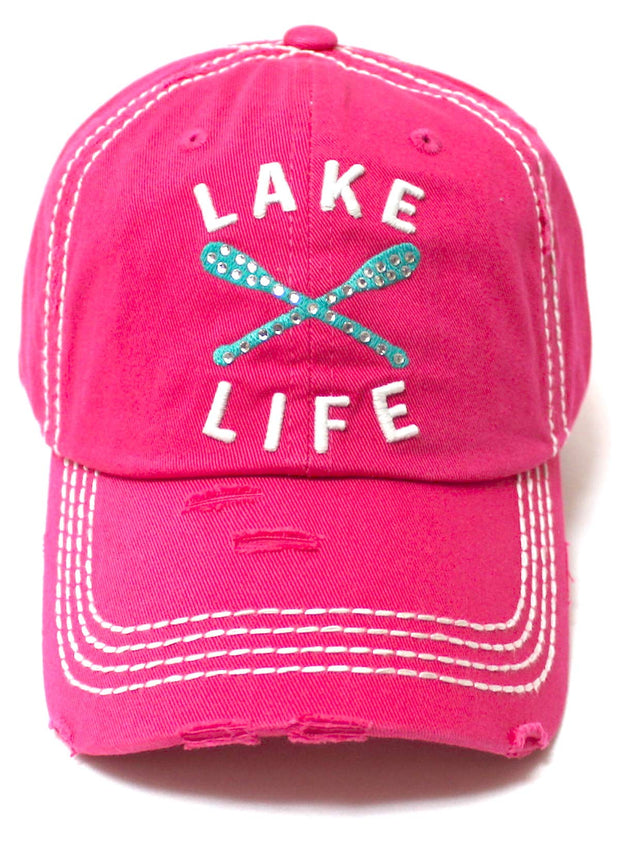 Women's Vintage Beach Cap Lake Life Embellished Boat Paddles Monogram Embroidery Hat, Hot Pink - Caps 'N Vintage