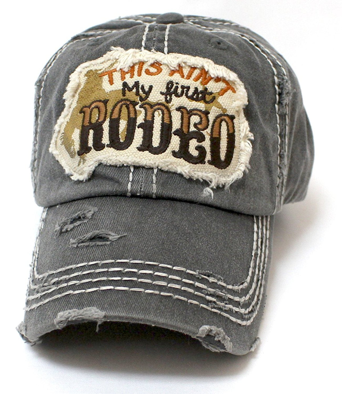 """This Ain't My First Rodeo"" Patch Embroidery Hat - Caps 'N Vintage"