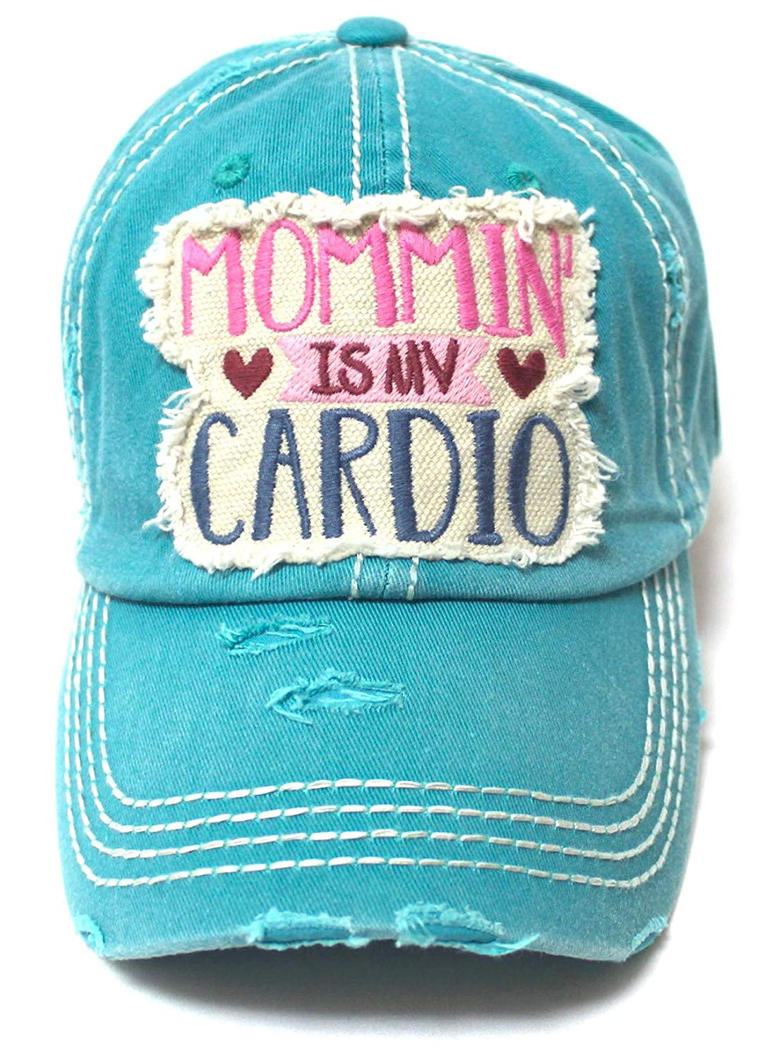 Women's Ballcap Mommin' is My Cardio Distressed Vintage Unconstructed Embroidered Hat, Turquoise - Caps 'N Vintage