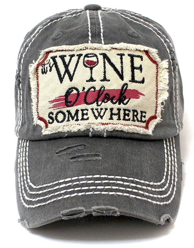CAPS 'N VINTAGE Black It's Wine O'Clock Somewhere Wine Clock Women's Cap - Caps 'N Vintage