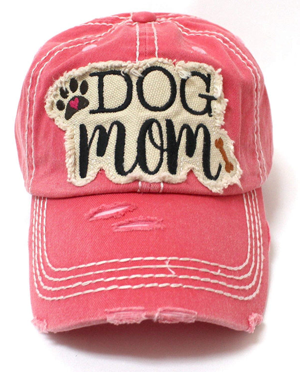 Rose Pink Dog Mom Paw Print & Bone Vintage Cap - Caps 'N Vintage