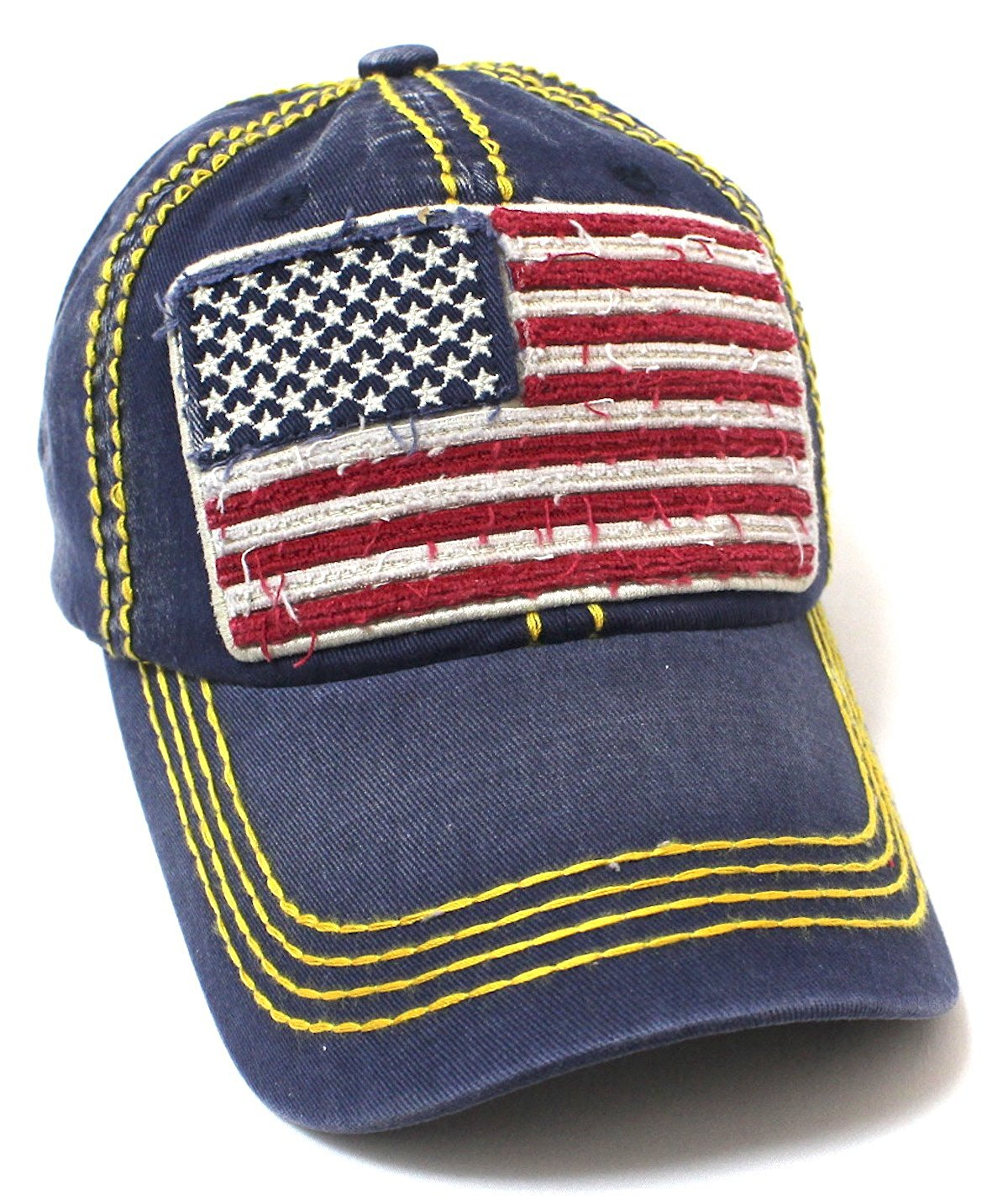 Navy Oversized USA Flag Patch Embroidery Ballcap - Caps 'N Vintage