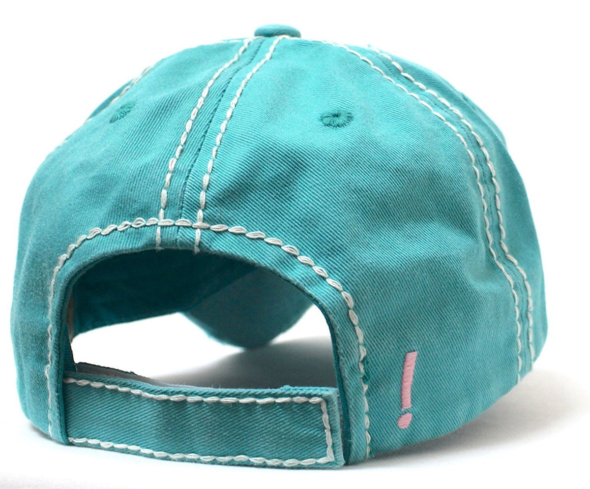 CAPS 'N VINTAGE Turquoise Shut The Front Door! Patch Embroidery Humor Ladies' Cap - Caps 'N Vintage