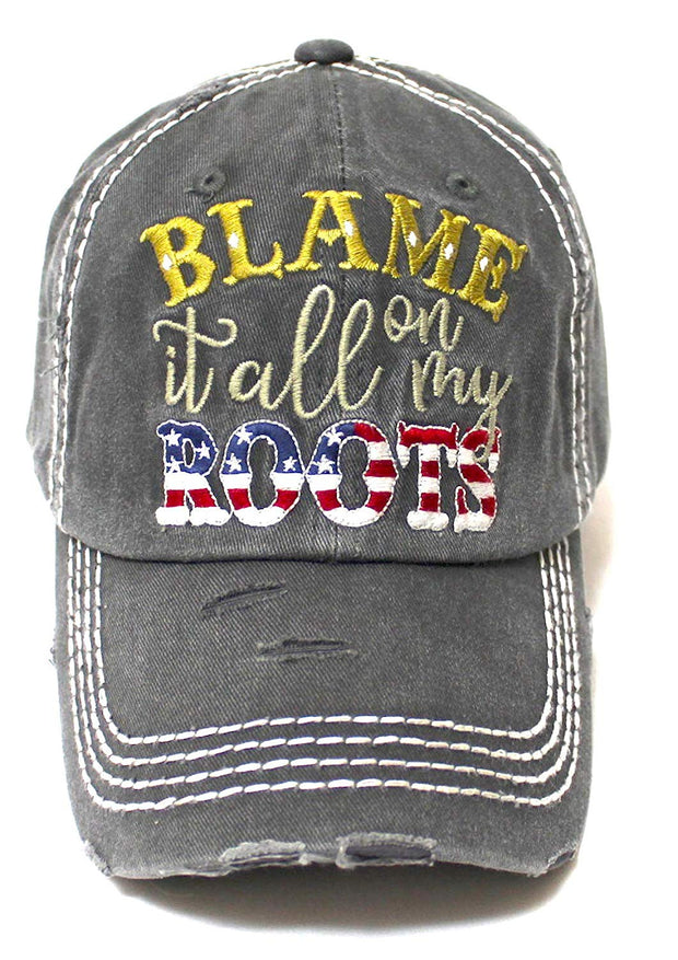 Classic Ballcap Blame it All on My Roots Monogram Embroidery USA Flag Themed Hat, Vintage Black - Caps 'N Vintage