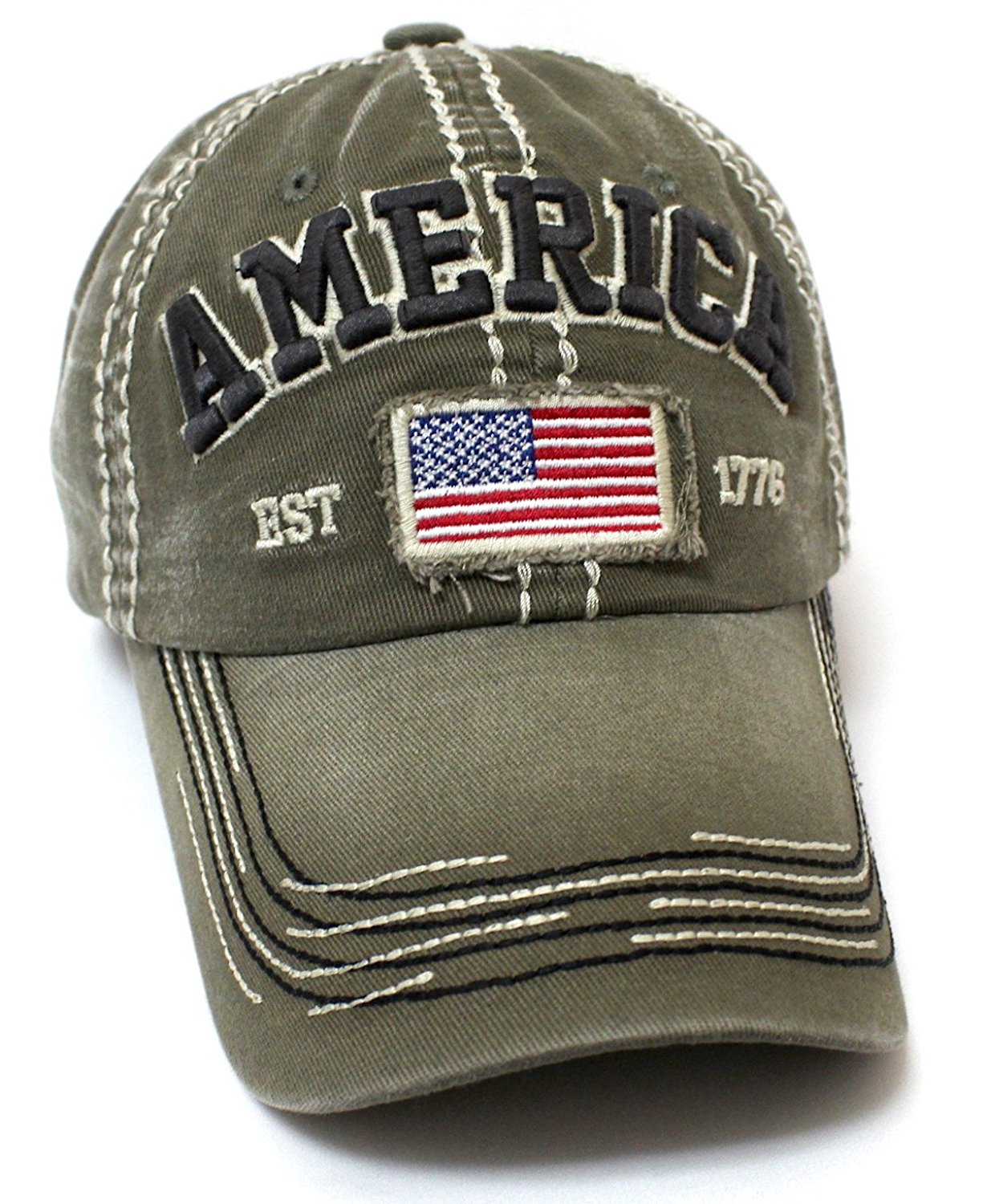 CAPS 'N VINTAGE Olive America EST. 1776 Flag Patch Embroidery Baseball Hat - Caps 'N Vintage