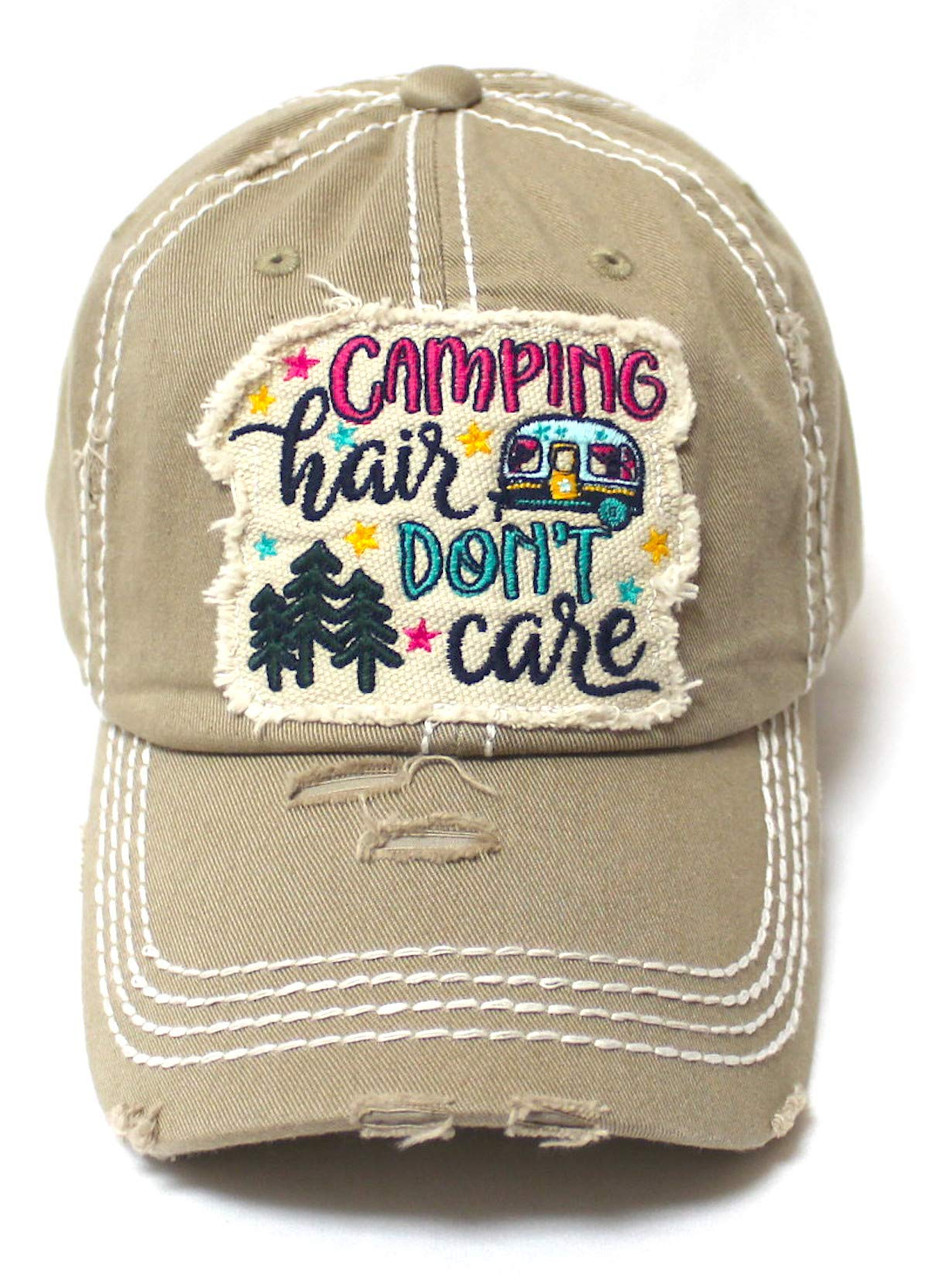Women's Baseball Cap Camping Hair Don't Care Patch Embroidery Monogram Hat, Vintage Khaki - Caps 'N Vintage